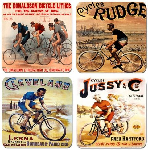 Vintage Bicycle Poster Coasters Set Of 4. High Quality Cork. Cycle Bike Racing